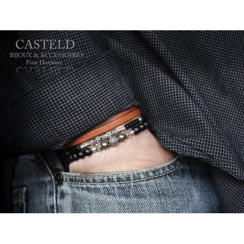 Bracelet cuir Camel
