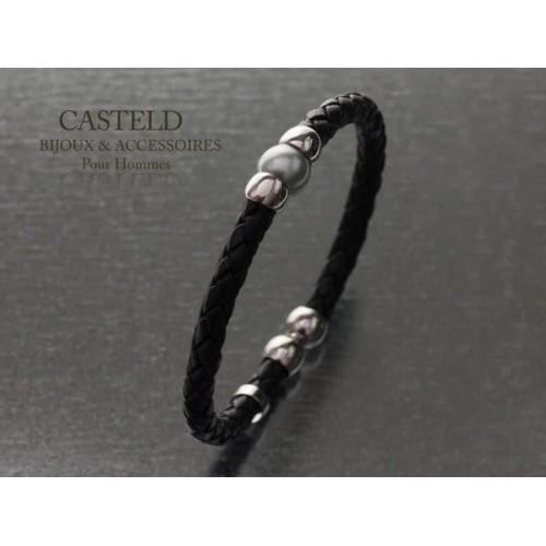 Bracelet Cuir Perle Tahiti