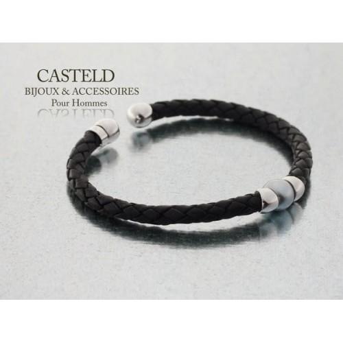 bracelet homme cuir perles