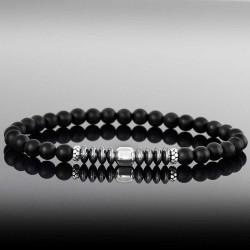 Bracelet homme perle noires