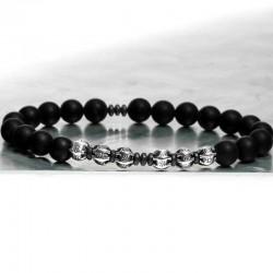 bracelet homme perle argent