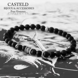 bracelet homme en perle noire