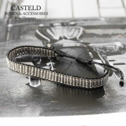 bracelet pour homme perle argent sur lien coulissant