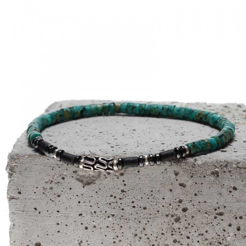 bracelet pour homme en perles turquoise