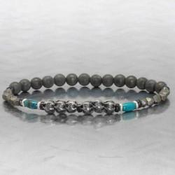 bracelet pour homme perle argent