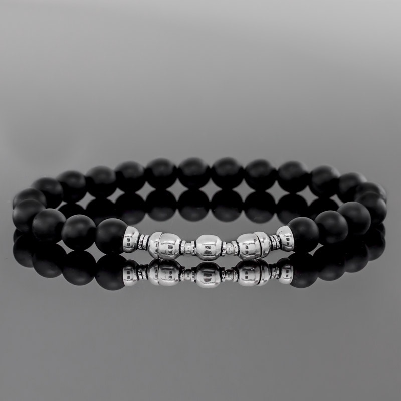 Bracelet perle noire et argent