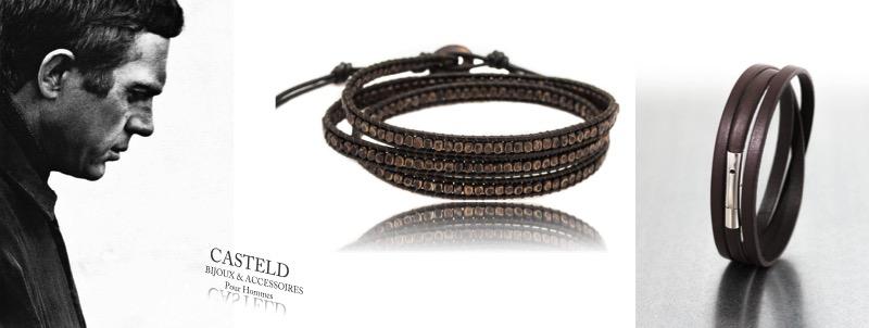 bracelet homme en cuir , bijoux hommes cuir tendance