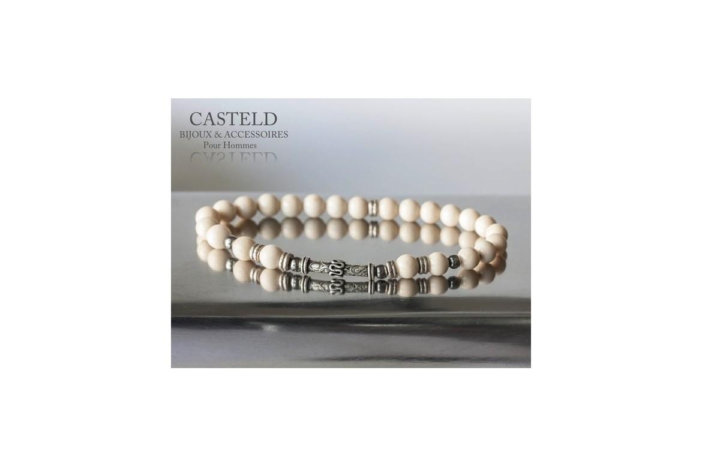 Bijou homme vintage : bracelet homme en perles argent vieilli