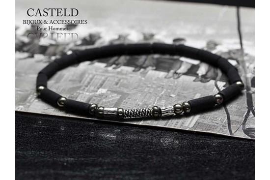 Bracelet homme pierre de lave. Un bracelet fin et vintage pour homme I Casteld